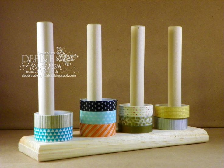 """Washi Tape Holder made by my husband for sale on my blog. Holds 32 Washi Tapes and is 9"""" long. Debbie Henderson, Debbie's Designs."""