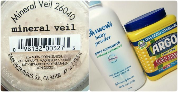 DIY mineral veil: 1 Tbsp Corstarch, 1/2 tsp. Baby Powder. Shake together. Can add a sprinkle of pow. foundation for color (Optional)