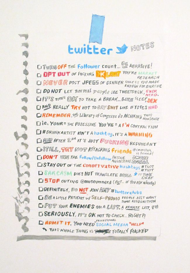 powhida:    Twitter Notes. Graphite, colored pencil, and watercolor on clayboard. 2012. Courtesy of Postmasters Gallery.