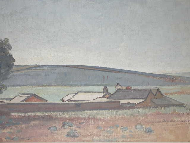 Paintings - Horace Hurtle Trenerry. Southern Vales Landscape with Farm Settlement