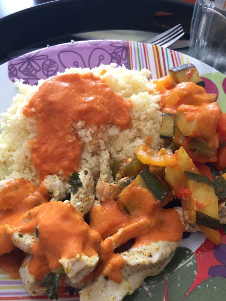 Aiguillettes poulet sauce curry légumes du soleil et couscous moyen