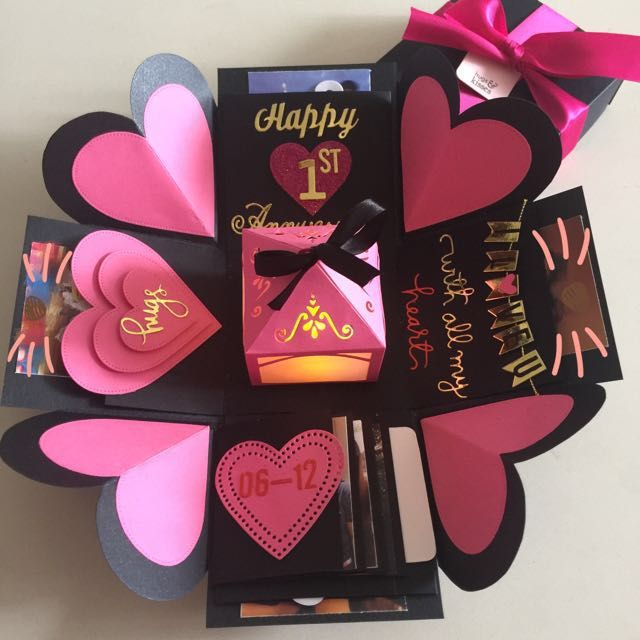 """Buy Explosion Box With Lighthouse, 4 Waterfall In Black & Hot Pink in Singapore,Singapore. ----------- Info ------------- Size: 4x4"""" Explosion box card with - 2 layers - 4 customized photos at the base layer - a 3D lighthouse in the center with bat Chat to Buy"""