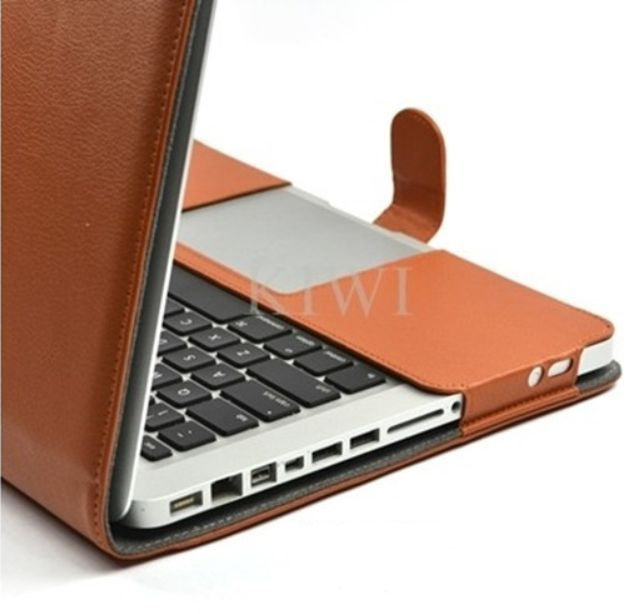 "Brown Leather Case/Holder/Cover +Free TPU Keyboard Skin for Macbook Pro 13"" 13.3"