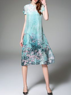 Printed Linen-Silk Two Piece #Midi #Dress