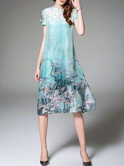 Printed Linen-Silk Two Piece Midi Dress