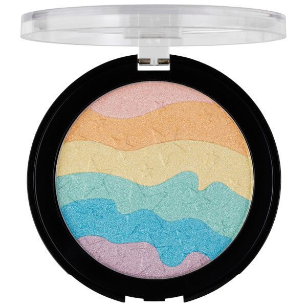 Achieve glowing perfection with Lottie London's Rainbow Highlighter; a multi-coloured pressed powder that will accentuate your favourite facial features. Housed in a chic compact, the rainbow-effect, star-embossed powder can be applied to the cheekbones, brow bones and cupid's bow to illuminate and strobe your complexion. #affiliate