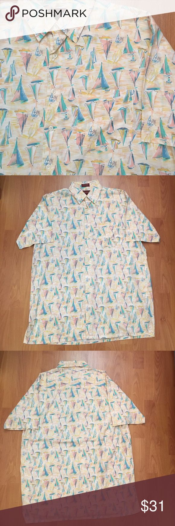 Vintage Chaps Ralph Lauren Pastel Sailboats Vintage Chaps Ralph Lauren Pastel Sailboats Button Down. One front pocket. Great vintage piece for the spring and summer. In perfect condition! Chaps Ralph Lauren  Shirts Casual Button Down Shirts