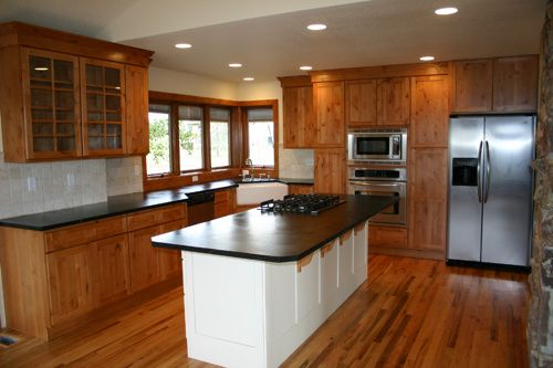 Lovely Open Concept Kitchen With Oak Cabinets Dark