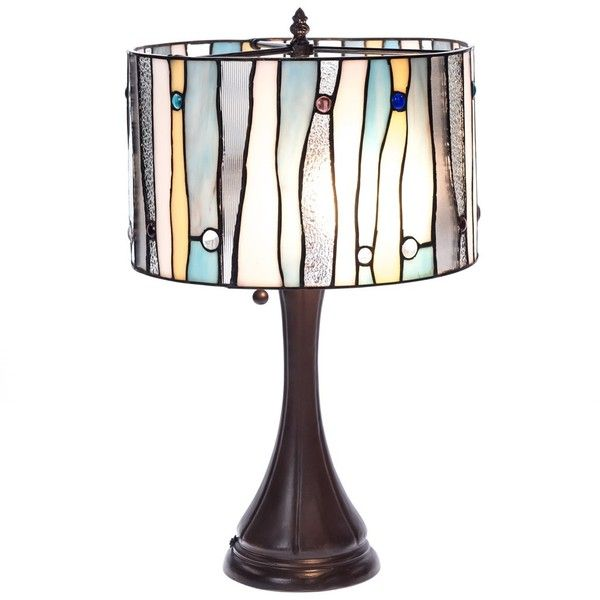 Stained Glass Table Lamp | Collections | Coastal - Cracker Barrel Old... ($130) ❤ liked on Polyvore featuring home, lighting, table lamps and wave lamp