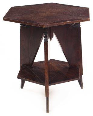 Arts U0026 Crafts Table, Probably Austrian, Hexagonal Top Above A Three Leg