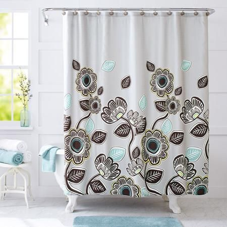 Better Homes And Gardens Graphic Floral Fabric Shower Curtain
