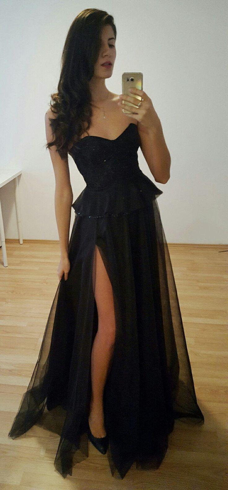 Unique black  dress Corset and side slit