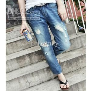 Wholesale Jeans - Buy -- New Women Casual Low Rise Boyfriend Style Denim Ripped Frayed Diy Hole Washed-out Jeans, $37.49 | DHgate