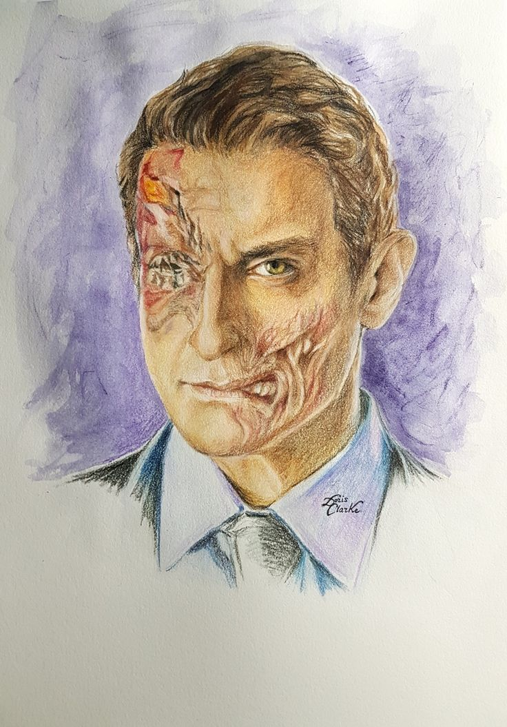 My drawing of Sasha Roiz as his character of Cpt Sean Renard in TV series Grimm.  Done in watercolour and Prismacolor pencils. #Grimm (c) Doris Clarke 2017