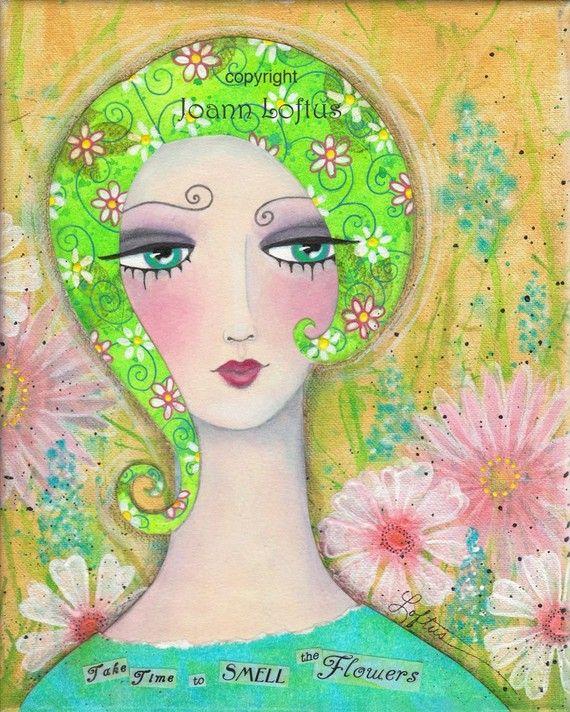 Whimsical Girl Art  Funky Hair Folk Art Print  by whimsiesfolksies