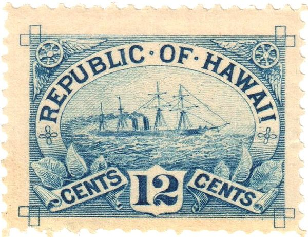 """Postage Stamp, Republic of Hawaii, before ultimate U. S. Statehood 8/20/1959 as 50th State.  """"Republic"""" was the formal name of the government that controlled Hawaii 1894-1898. Formal claim of transfer of sovereignty by the U. S. took place on 8/12/1898 with the hoisting of the flag of the United States over Iolani Palace and renaming the island cluster the Territory of Hawaii. It was formally annexed as a U. S. Territory on 6/14/1900."""