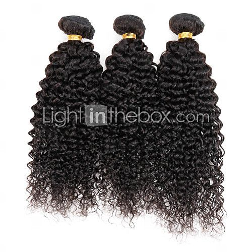 3 pacotes encaracolado Kinky peruano extensões de cabelo virgem de trama muito tecer cabelo humano - BRL R$105,73