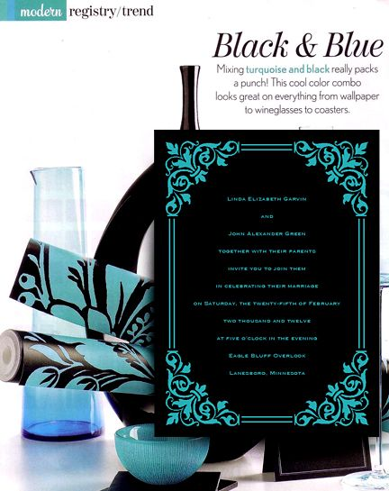 Modern Black and Turquoise Wedding Invitations ...