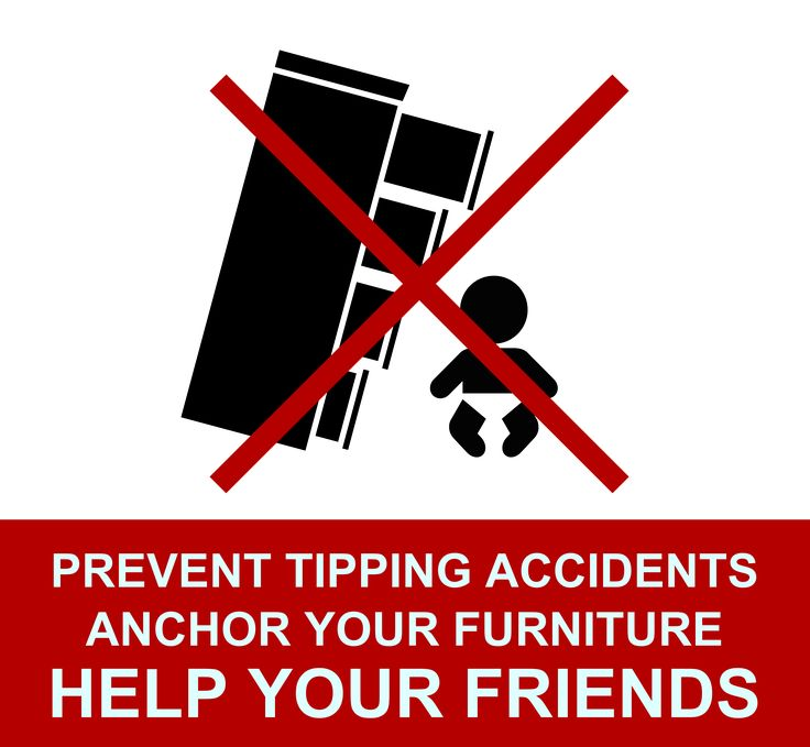 Prevent furniture tipping accidents by anchoring your furniture, TVs, dressers, shelves to walls. And then help your friends do the same! Moms have to support each other on this. No more hurt babies!