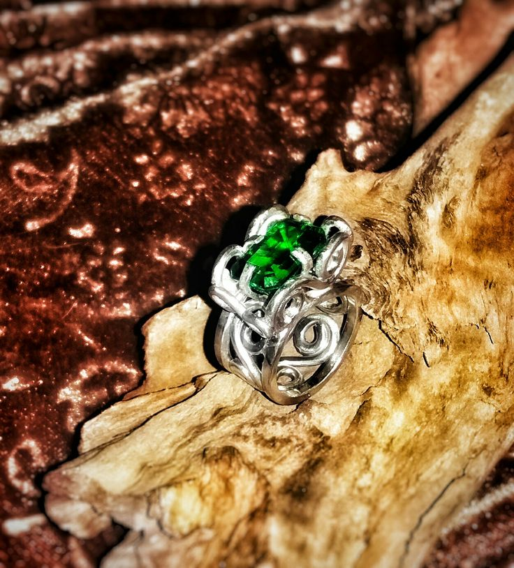 Moldavite and sterling silver