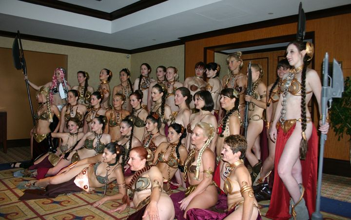 A group of fans wearing the slave Leia costume at the 2007 Dragon Con fan convention.