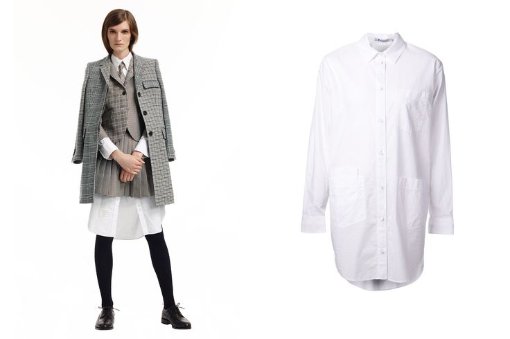 Speaking of '90s nostalgia, shirt tails...woo hoo! (obviously sung to the tune of Duck Tails, the preeminent animated program of our time) are making themselves known. Thom Browne made an extra-long shirt dress and paired it with a mini skirt suit. Genius! Let those tails fly, ladies!  T by Alexander Wang Ripstop Poplin Shirt Dress, $281; farfetch.com     - ELLE.com