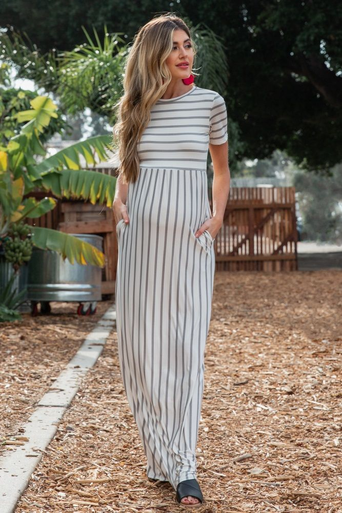 4e1320e3dbad Heather Grey Striped Short Sleeve Maternity Maxi Dress | One day ...
