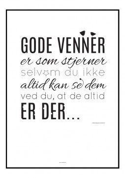 Grafisk plakat med typografisk opsat citat om venskab