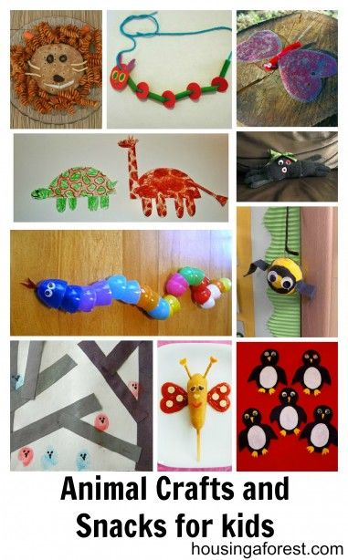 Adorable Animal Crafts and Snacks for kids (whoo-hoo my craft on Gummy Lump made the list!)