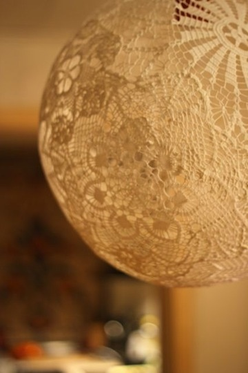 doily pendant light...balloon + modge podge this would have worked way better then trying to cut out the lace pattern on a paper mache balloon with a utility knife.....I need to try this