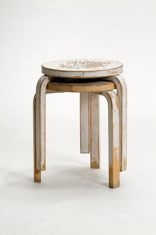 Well worn classics!  Stacking Stool (model 60) Alvar Aalto (Finnish, 1898–1976) 1932-33
