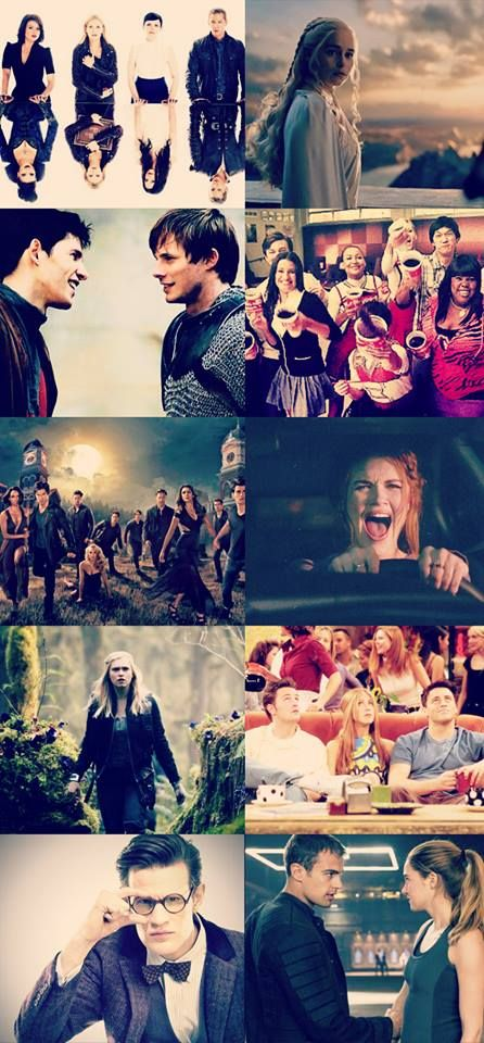 Once Upon A Time • Game Of Thrones • Merlin • Glee • Vampire Diaries / The originals • Teen Wolf • The 100 • Friends • Doctor Who • Divergent