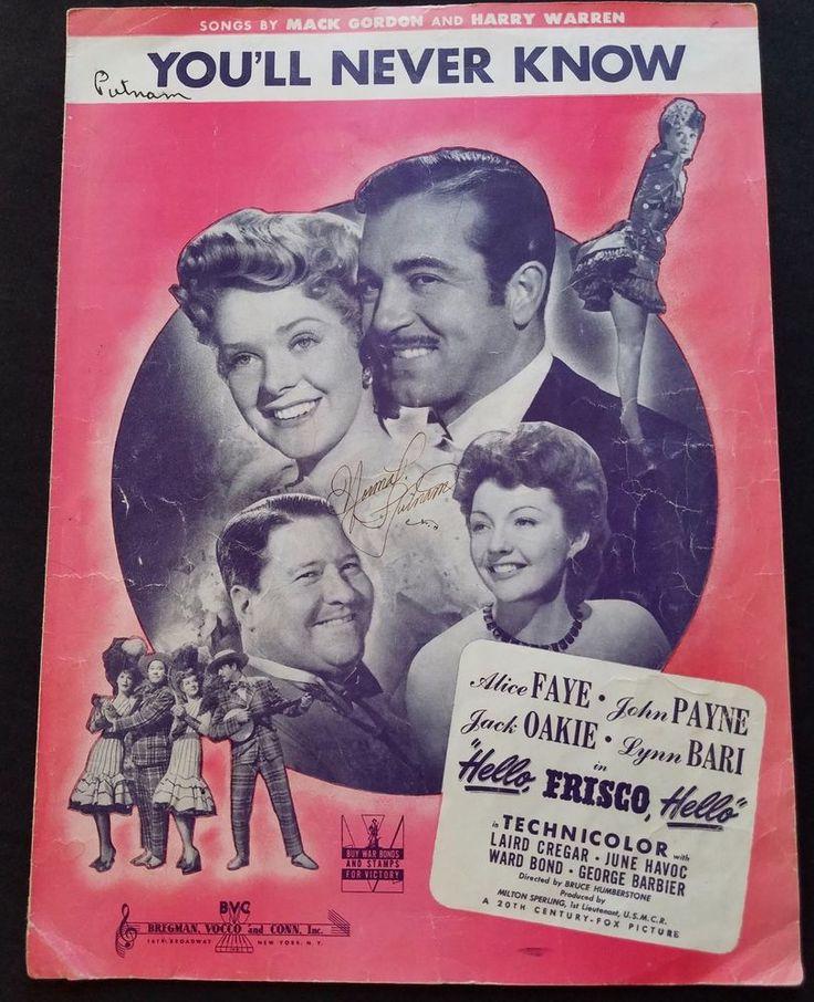 You'll Never Know Sheet Music 1943 Hello Frisco Hello Movie Song Mack Gordan