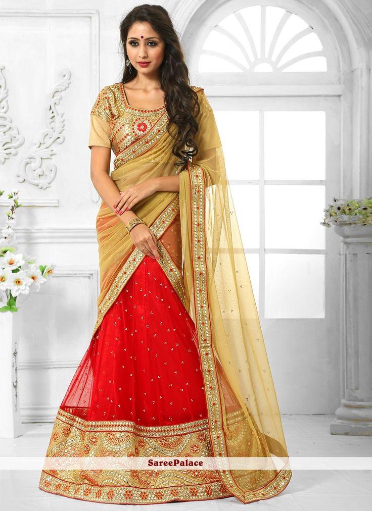 Delightsome Net Red A Line Lehenga Choli