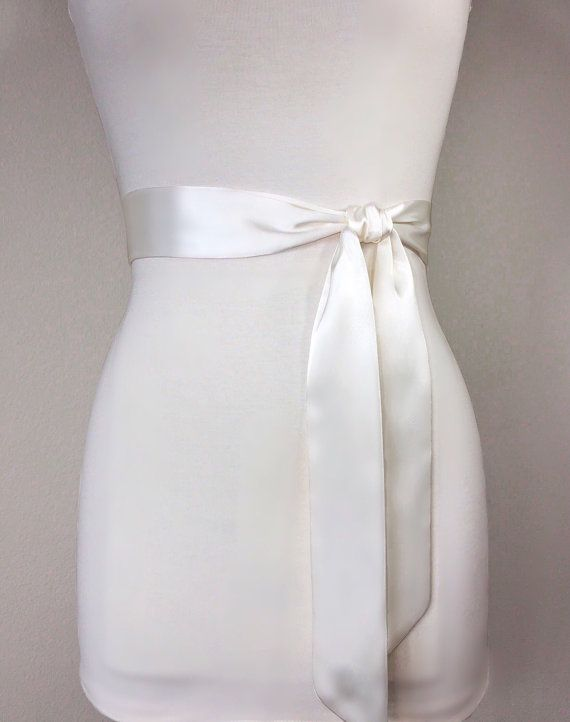 Narrow Ivory Sash Ivory Satin Sash Ivory Sash Belt by SatinSwank
