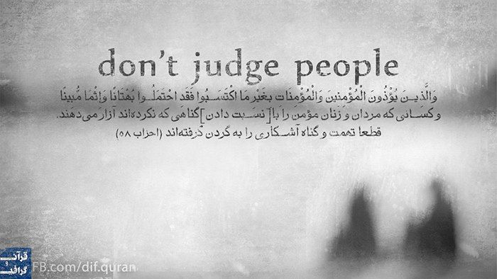 Don't judge people.