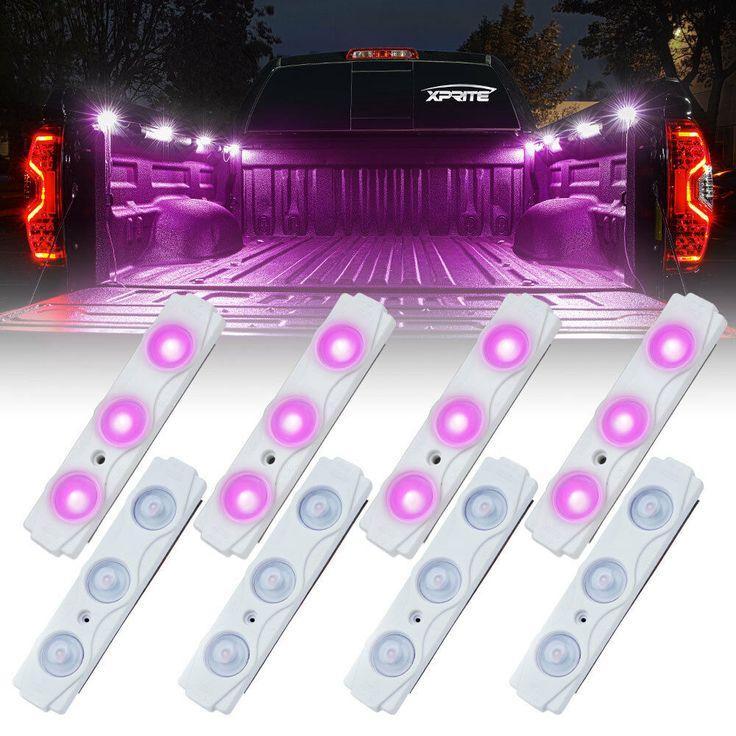 Xprite Purple 8 LED Off Road Rock Light Pods Truck Bed