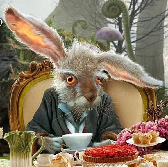 """The March Hare"" ~ Alice In Wonderland... This isn't bad art just creepy. I LOVE the light in this."