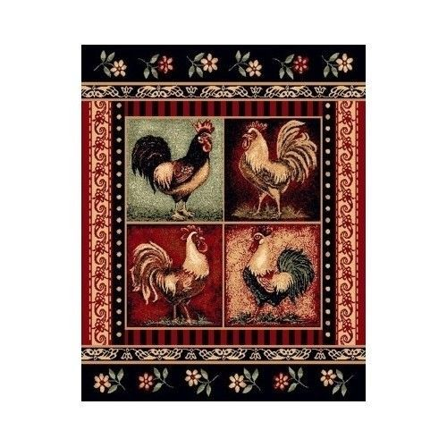 Rooster-Area-Rug-5x7-Red-Black-Country-Kitchen-Accent-Novelty-Carpet-Mats-Floors