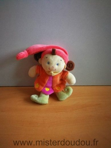 Doudou Lutin Kiabi baby Nicotoy orange rouge rose