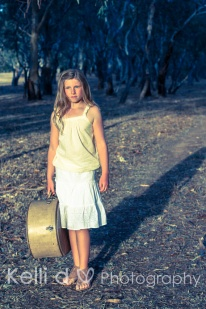 Girl amongst the trees with suitcase-2 {Kelli D Photography}