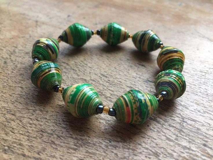 Green paper bracelet, paper bracelet, paper beads, recycled magazine jewellery