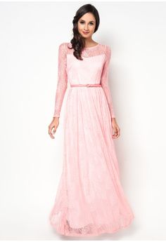 Sheer Sleeved Lace Maxi Dress