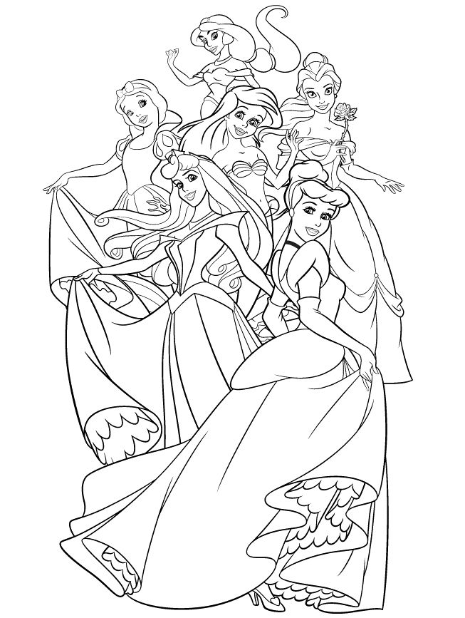 The Group Of Disney Princess Coloring Page Jasmine Snow White Belle Ariel