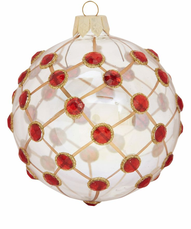 Red Jewelled Trellis Glass Bauble | Baubles from the Liberty Christmas Shop | Liberty.co.uk