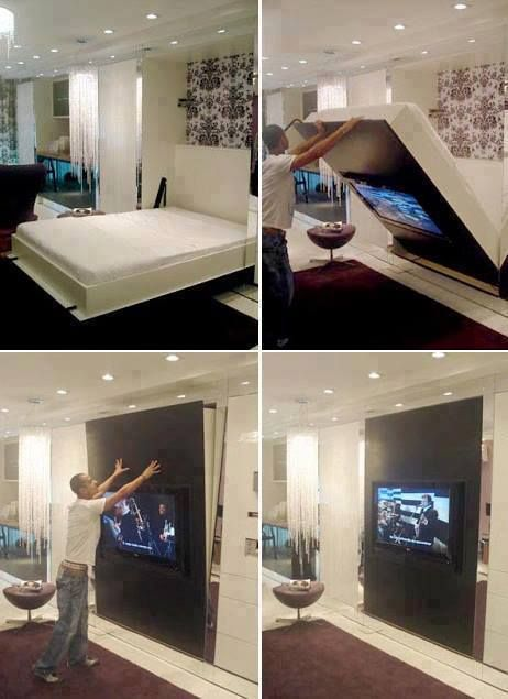 Bed Turns Into A Tv With Images Small Apartments