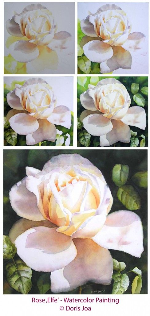 How to paint a rose - Watercolor and Oil Paintings