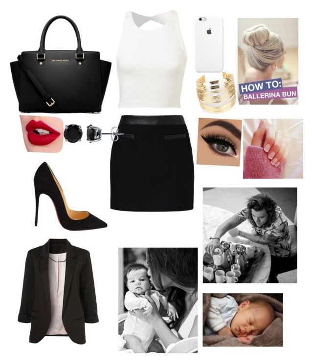 """""""Business Woman with baby boy and harry stylea"""" by miajade05 on Polyvore featuring MICHAEL Michael Kors, Expresso, Christian Louboutin, WithChic, BERRICLE, Charlotte Tilbury, women's clothing, women's fashion, women and female"""