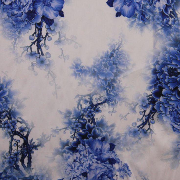 Goedkope Blauwe bloem chinese stijl Digitale Gedrukt elastische zijde Satijn, koop Kwaliteit stof rechtstreeks van…