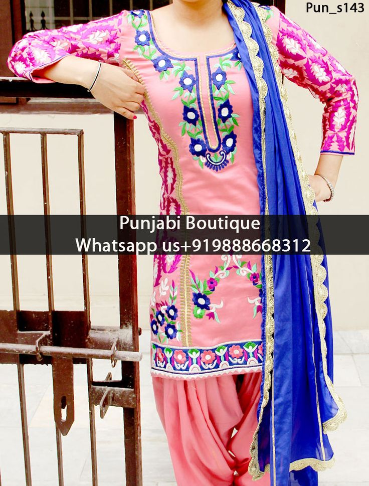 Extraordinary Pink & Blue Heavy Embroidered Punjabi Suit Product Code: Pun_s143 To order this dress , please call or WhatsApp us at +919888668312 We can design this Suit in any color combination or on any fabric (price may vary according to fabric)